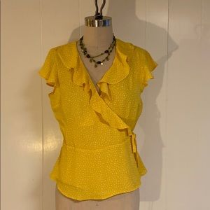 Banana Republic printed yellow wrap top